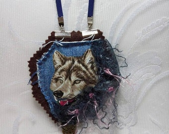 Wolf Art Animal necklace pendant, Denim necklace, Shabby Chic lace necklace, Felt Textile Fabric necklace on cord, Handmade jewelry,Gift her