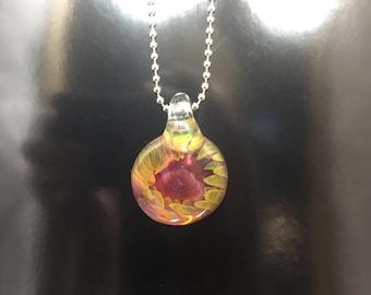 Gold and Silver Fume Glass Pendant - Boro Necklace