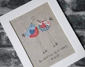 Original textile art, bird picture, lovebirds picture, applique art, handmade, free motion, machine embroidery, wedding gift, unique