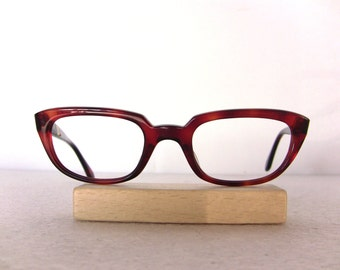 1960's Red Cat Eye Glasses Frame Glossy Oval Eyeglasses Small Medium Sized Eyewear FREE SHIPPING Rx Indo Spain New Old Stock NOS