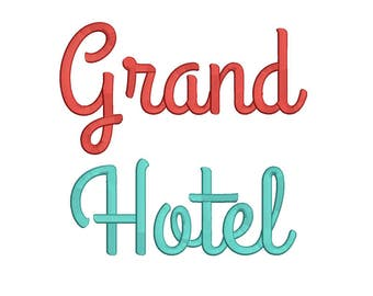 5 Size Grand hotel Embroidery Font Embroidery Designs, BX fonts Machine Embroidery Designs - 9 File Fomats - INSTANT DOWNLOAD
