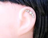 Opal  Cartilage Earring , Helix Earring , 5 White Opal dots  , Helix Piercing , Single , Opal 16ga Stud