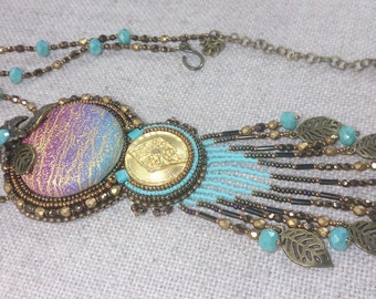 Embroidered Beaded Necklace, turquoise beaded pendant,Ethnic Necklace, Handmade, OOAK
