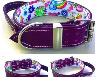 Violet Leather Dog Collar with Handle and Fluro Fun Peace & Love Inner Lining
