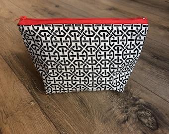 Geometric pattern cosmetics bag, make up bag, zip bag, wash bag, weekend bag, geometric print, geometric gift, monochrome make up bag