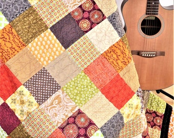 Full Size Quilt-Full Quilt-Throw Quilt-Twin Quilt-Homemade Quilt-Patchwork Quilt-Traditional Quilt-2nd Anniversary Gift-Ready to Ship-Picnic
