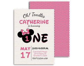 First Birthday Invitation, Girl First Birthday Invite, Pink, Minnie Mouse Birthday Invitation, One Birthday, First Birthday Party, Printable