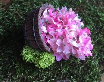 Miniature Flower Barrel, Dollhouse Flower Barrel, Fairy Garden Accessory, Terrarium Accessory, Flower Barrel