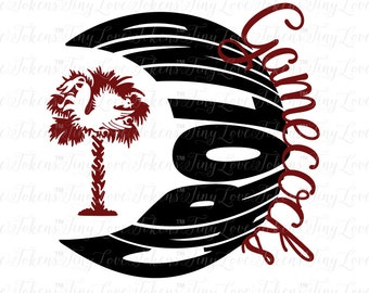 Gamecocks Palmetto Moon Design (.svg/.dxf/.eps/.pdf/.png)