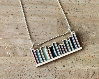 Bookshelf Modern Library Laser Cut Maple Wood and Metallic Mineral Pigment Resin Necklace... Custom Available