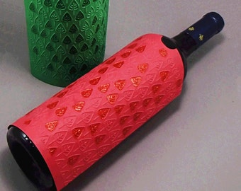 2 Christmas Wine Bottle Sleeves, Wine bag, Christmas tree embossed bottle sleeve with red and green glitter glue embellishment