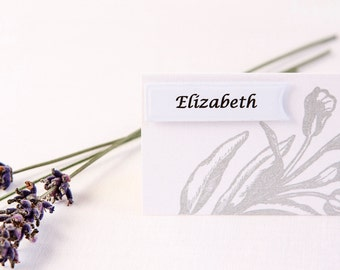 Silver Place Cards - Floral Place Cards - Romantic Wedding - Name Cards - Wedding Place Cards - Wedding Place Names - Place Cards