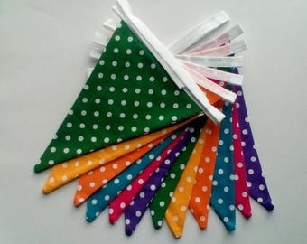 Polka dot, brightly coloured, double- sided bunting