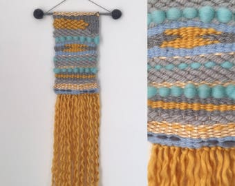 Weave loom wall hanging - Yellow and Blue