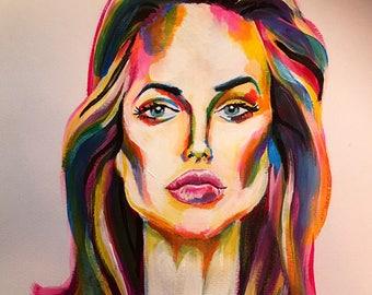 Original Portrait- Acrylic On Paper-Angelina Jolie-Size A3