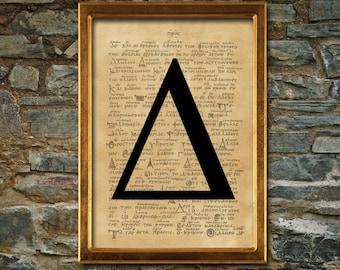 Delta symbol print, aged poster, Aged wall decor, Occult print, Alchemy print, man poster, sorority print