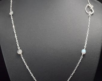 Sterling Silver 925 chain / 1,7 mm Flat Round Cable chain with Labradorite bead /