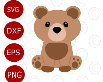 Baby Bear SVG Cut File, Cute baby woodland animal SVGs, Cut files for Silhouette and Cricut