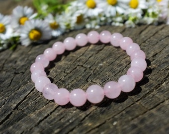 Bracelet en Quartz rose avec fermeture elastique