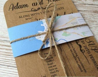 Rustic Destination Wedding Invitation sample