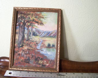 Vintage small original signed painting oil or acrylic fall, mountains, stream
