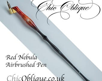 Red Nebula Oblique Pen Holder