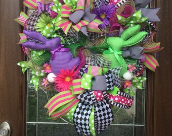 Easter Wreath, Spring Wreath, Bunny Wreath, Harlequin Wreath