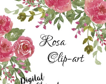 Watercolor Flower Clip-art, Rose watercolor Clip-art, Pink Rose Watercolor Florals, Shabby Rose Clip-art. NO. WC47