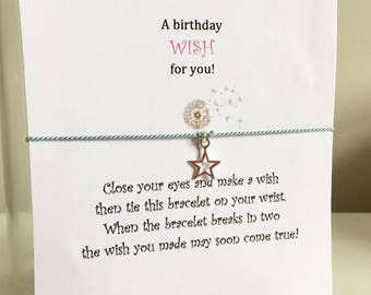 Sterling Silver Star Wish bracelet, Silk Cord Friendship Bracelet, Gift for Friend