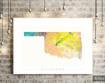 Oklahoma Map - State Map of Oklahoma - Art Print Watercolor Illustration Wall Art Home Decor Gift - NATURE PRINT