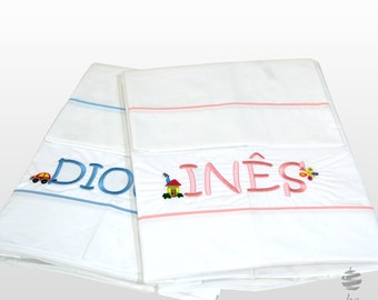 Personalized Kids Single Bed Sheets Set + 1 Pillowcase With Blue or Pink Cord