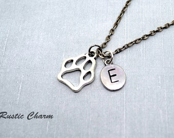 Personalized Initial Dog paw print Charm Necklace