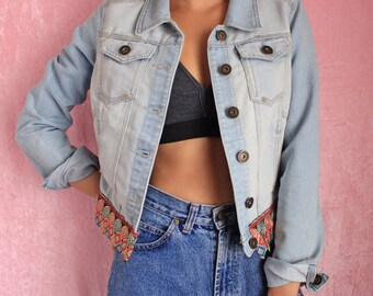 Reworked Boho Festival Denim Jacket Handmade