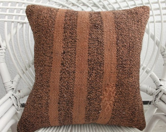 Overdyed Turkish Striped Kilim Pillow 16x16 Anatolian Kilim Pillow Vintage Turkish Kilim Pillow Ethnic Pillow 1361