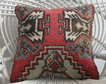 "16 x 16 pillow covers vintage throw pillows bohemian bedding cushions 16x16 red carpet pillow ancient carpet cushion 16"" x 16"" 1943"