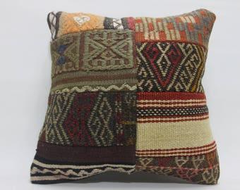 Handmade kilim Patchwork kilim Embroidered kilim pillow Turkish kilim pillow 16x16 anatolian kilim pillow decorative pillows for couch 2452