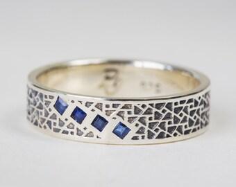 Silver Mens Wedding Band, Oxidized Silver Mens Ring, Wedding Band Mens, Mens Gift, Sterling Silver Ring, Blue Sapphire Ring, Mens Wedding