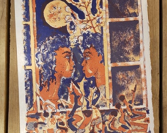 """Lithograph after the work """"In love in the Moonlight"""" Studio Bellini vintage"""