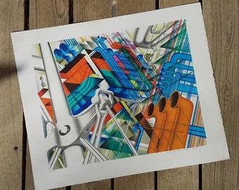 "Lithograph after the work ""Centre Pompidou"" by Jean Monneret 1977 workshop Bellini vintage"