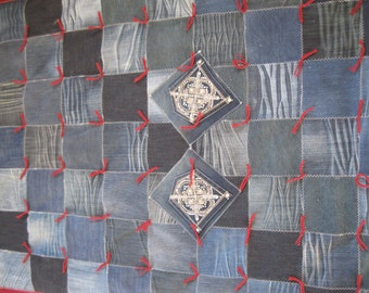Handmade Denim Lap Quilt or Denim Throw Quilt Blanket