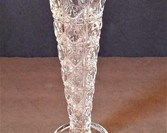 Cane and Button EAPG Clear Glass Bud Vase