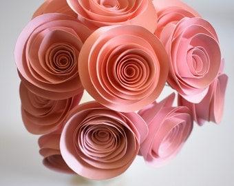 Blush Wedding Decor, Blush Pink Paper Flower Bouquet, Beach Theme Wedding, Stemmed Paper Roses