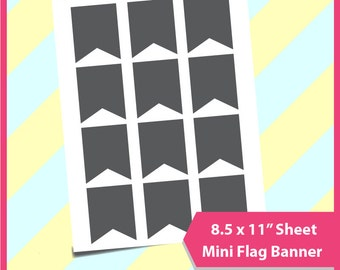 """Instant Download,Mini flag banner 50x60mm,  gift tag, Christmas gift tag Template,  PSD, PNG and SVG Formats,  8.5x11"""" sheet,  Printable 021"""