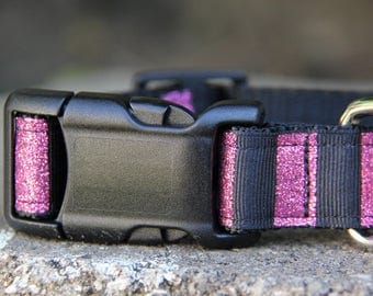 SPARKLE Pink Sparkle Nylon Dog Collar