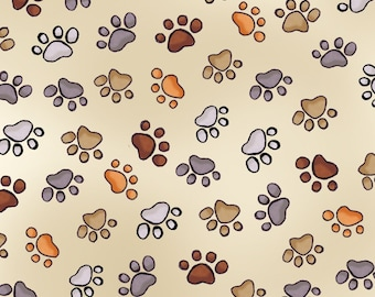 Doggie Prints - Per Yd - Loralie Harris Designs - Doggie in the Window Collection - Cream