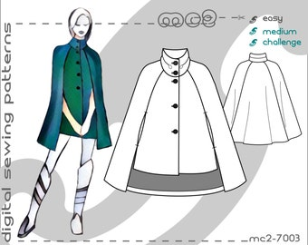 Cape Coat with Cropped Front/ Maternity suitable (sizes: uk 10-20/ usa 6-16) Digital PDF Sewing Pattern for Women >mc2patterns< mc2-7003