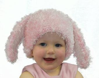 Crochet bunny hat, crochet fluffy bunny hat, crochet rabbit hat, long ears hat, photography prob, fluffy hat, winter hat, pink hat