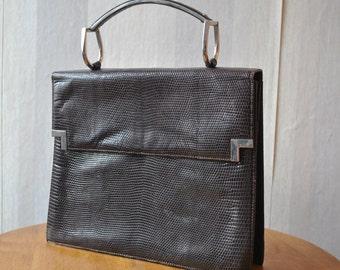 Vintage  brown genuine leather, snake skin imitation hand bag purse
