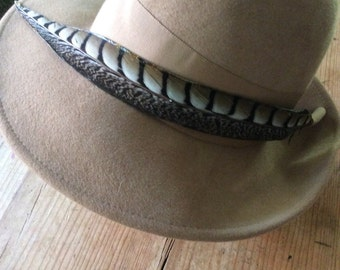 ON SALE- Brand new vintage feathered hat- with tags-WAS 35