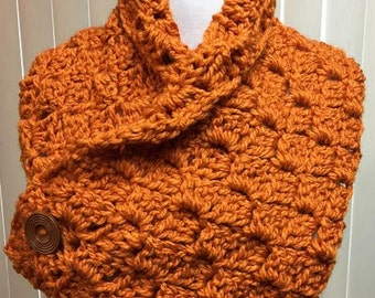 Crochet Neck Warmer, Burnt Orange Neckwarmer, Dark Orange Button Cowl, Button Scarf, Neckwarmer Scarf, Button Neckwarmer, Winter Scarf
